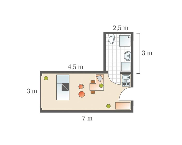Grundriss 1-Raum-Apartment