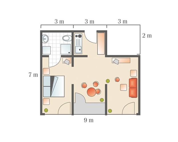Grundriss 3-Raum-Apartment